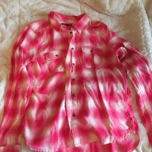 American Eagle Pink and White Flannel
